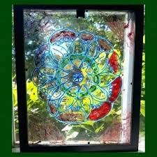 hanging glass yard art faux stained outdoor