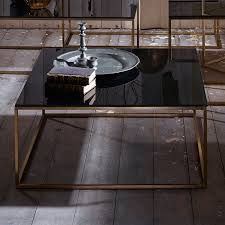 coffee table glass top display square wood black gloss light and chrome end full size large