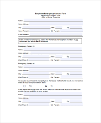 emergency contact template sample emergency contact form 7 documents in pdf word