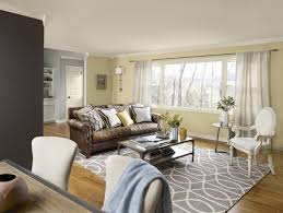 brown leather sofa plus rectangle table on the white gray rug placed