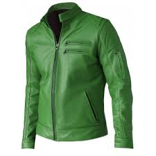modish green leather jacket for men