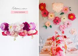 above left bloominous fl chandelier by 100 layer cake above right diy paper flowers by paper flora