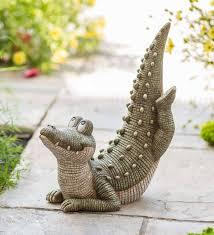 Lighted Alligator Lawn Ornament Yoga Alligator Garden Statue Wind And Weather