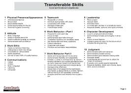 Transferable Skills Resume Gorgeous Skills For A Resume Transferable