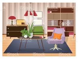 Colorful interior of living room furnished in old fashioned style. Retro  furnishings and decor -