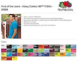 Fruit Of The Loom T Shirt Color Chart Fruit Of The Loom Tshirt Colors 2019