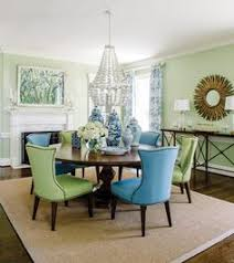 bold color in a new england home dining in style nailhead trim gres and formal