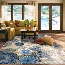 modern medallion area rug blue multi color