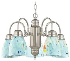 mini chandelier with ocean turquoise blue glass satin nickel