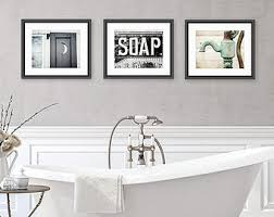 Farmhouse Design Wall Art For Bathroom Vintage Soap White Wooden Canvas  Printed Framed Design Cabinet Bathtub