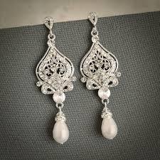 wedding earrings bridal earrings swarovski pearl chandelier earrings crystal dangle earrings vintage style wedding bridal jewelry grace