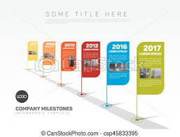 Vector Infographic Company Milestones Timeline Template With Flag ...