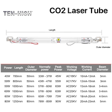 Ten High Ac110v Glass Laser Tube 80w Co2 1250mm Length 80mm Dia For 400x600mm 80w Laser Engraving And Cutting Machine