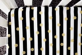 gold foil polka dot fitted crib sheet