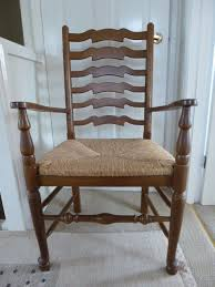 carver chairs 2 oak ladder back carver chairs with removable rush seats made by multiyork