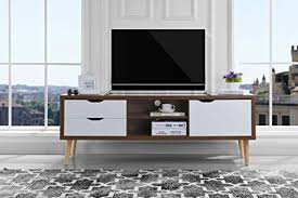 Sofamania MidCentury Style TV Stand Living Room Entertainment Center BrownWhite