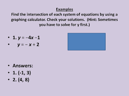 examples find the intersection of each system of equations by using a graphing calculator check