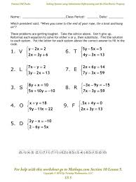 systems of linear equations worksheets systems equations elimination method worksheet answers