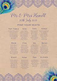 Rustic Peacock Wedding Seating Plan From 40 00 Each