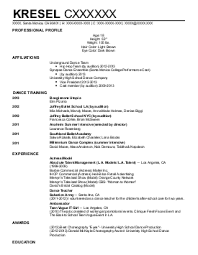 dance choreographer resume