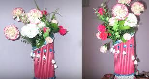 News Paper Flower Vase Newspaper Flower Vase Making The Handmade Crafts