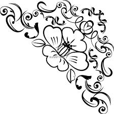無料イラスト 飾り花フレーム枠椿背景シルエットライン和風