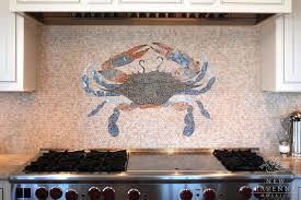 View in gallery Crab design in mosaic backsplash