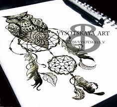 сообщество иллюстраторов иллюстрация эскиз тату сова ловец снов