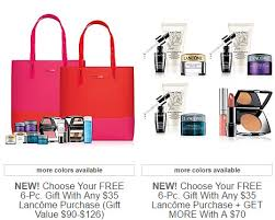 receive your choice of 6 piece bonus gift with your 35 lancôme purchase