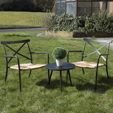 oseasons outdoor garden furniture sets round table top and two rattan aluminium chairs taupe rattan table and chairs