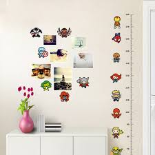 Us 1 68 8 Off Cartoon Iron Man Avengers Captain Spiderman Movie Hero Home Decal Kids Room Height Measure Growth Chart Wall Stickers In Wall Stickers