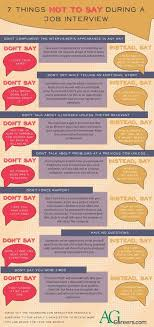7 Things Not To Say During A Job Interview Infographic Agcareers Com