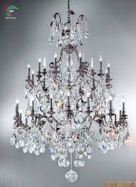 antique bronze 8 light double round crystal chandelier large wrought iron color