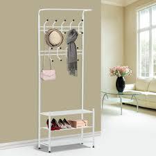 homcom metal coat and shoe rack w hanging bar heavy duty white