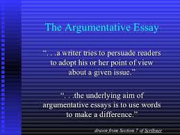 "argumentative essay the argumentative essay"" a writer tries to persuade readers to adopt his"