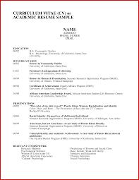 Unique Academic Curriculum Vitae Template Mailing Format