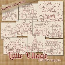 Redwork Little Village Machine Embroidery Patterns  Designs X - Home machine embroidery designs