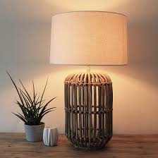 Bamboo Table Lamp With Ivory Linen Shade Primrose Plum Teal Table Lamp