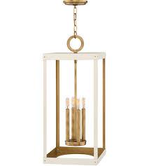hinkley 4075hb wt porter 4 light 12 inch heritage brass with warm white chandelier pendant ceiling light