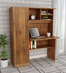 Buy Study Table with Book Shelves & Cabinet in Knotty Wood Finish by ...
