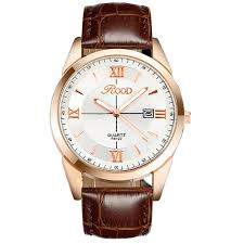 online get cheap gold color watches aliexpress com alibaba group rood brand watch 5 color rose gold simple plate leather strap quartz watch waterproof wrist watches for men gold r6122