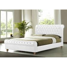 richmond 6ft super king size white faux leather bed est richmond super king size bed leather uk