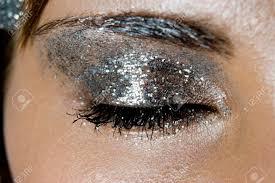 glittery silver eye makeup stock photo 29858797