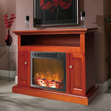 electric fireplace mantel with insert in cherry