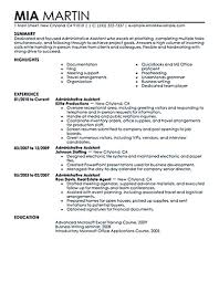 Administrative Assistant Resume Office Sensational Templates Summary