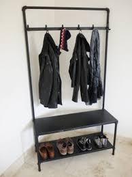 Coat Rack Metal Black Adorable 32 INDUSTRIALRECLAIMEDSTYLEMETALBLACKPIPEHALLCOATSHOESTAND