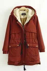drawstring hooded long sleeve cotton padded winter coat aoihtoq