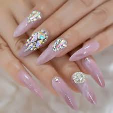 Toe Nail Gem Designs Coolnail 3d Luxery Colorful Gems Extra Long Stiletto False Nails Tips Pointed Sharp Stilettos Fake Nail Marble Pink Uv Gel Press On Nails