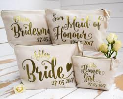 6 piece set includes 5 bridesmaid makeup bags and 1 bride makeup bag you and your s will be traveling in style with these fun bride tribe canvas