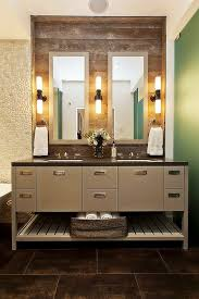 elegant bathroom vanity design with wooden cabinets and undermount sink also twin mirror with modern